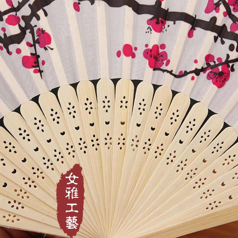 China pintura de tinta para mujer ventilador plegable elegancia ciruelo accesorios de boda regalo si shan patrón personalizable