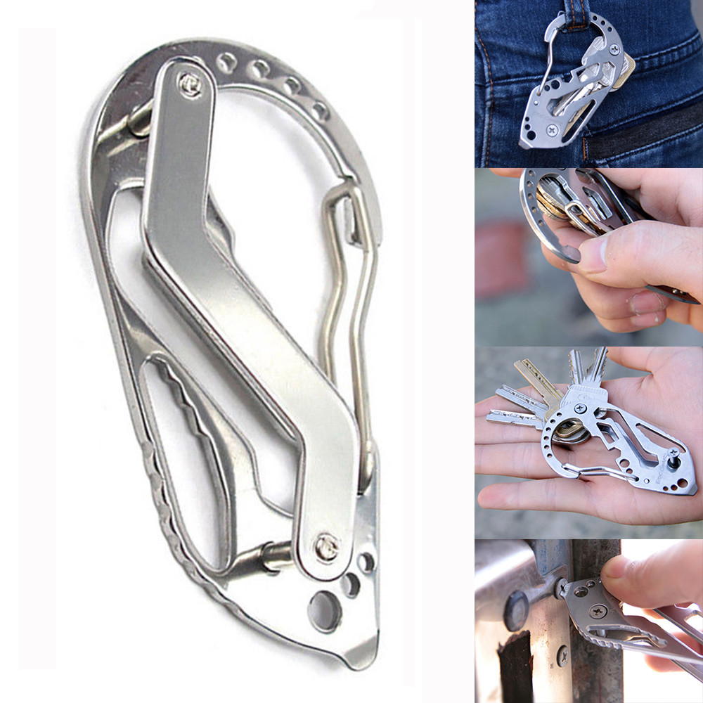EDC Stainless Steel MultiTool Key Chain Holder Wrench Quickdraw Carabiner Guards