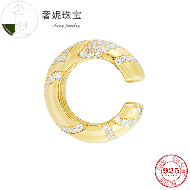 Cheny fit s925 en argent sterling clips d'oreille couleur or avec cristal de luxe design décoration pour femmes mode bijoux boucles d'oreilles