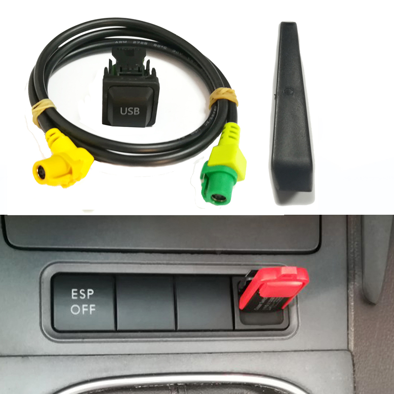 Car <font><b>USB</b></font> AUX switch button <font><b>cable</b></font> harness <font><b>USB</b></font> audio adapter RCD510 RCD310 <font><b>USB</b></font> <font><b>cable</b></font> for <font><b>VW</b></font> <font><b>Golf</b></font> 5 <font><b>6</b></font> Jetta MK5 GTI CC Polo Passat image