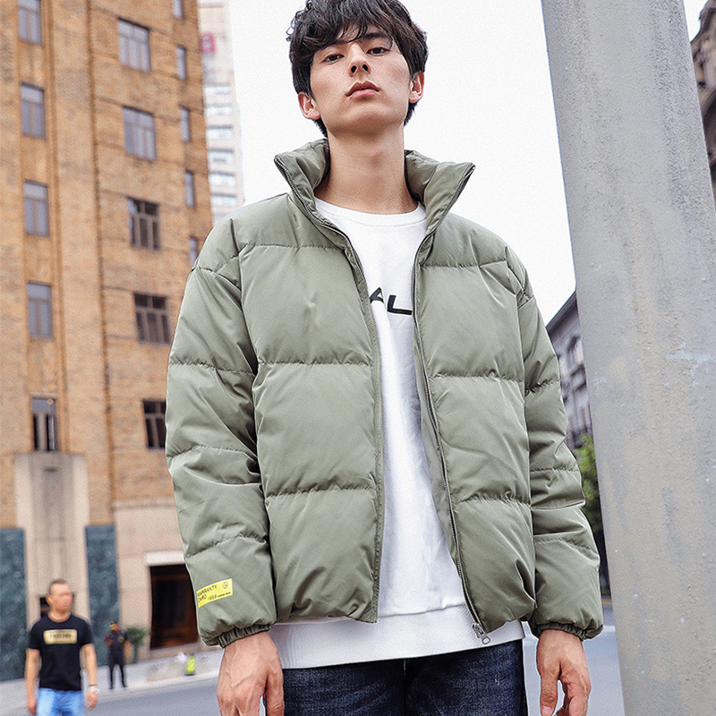 Trend Winter Down Jacket Men Stand Collar Bread Coats Fashion Casual Goose Outerwear Male Clothes 2019 Doudoune Homme JK112703