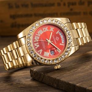 Image 5 - יוקרה קריסטל יהלומי זהב שעון גברים קוורץ נירוסטה גברים שעונים לוח שנה תאריך שבוע עמיד למים למעלה מותג שעוני יד זכר