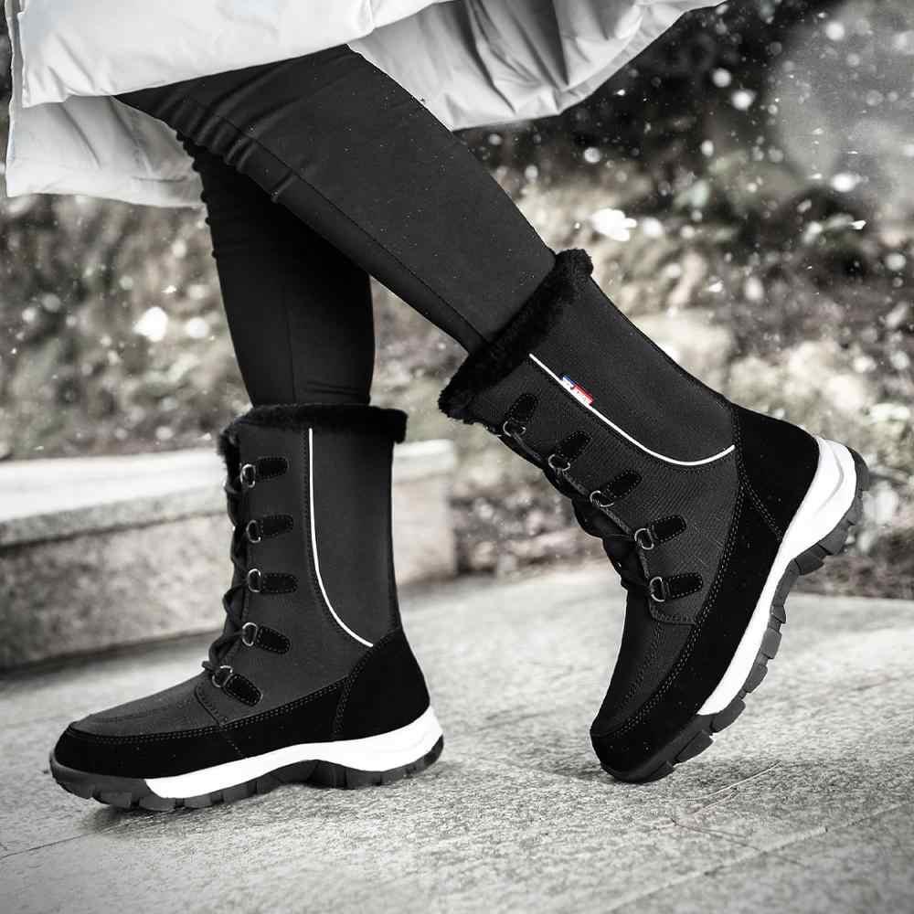 ผู้หญิงฤดูหนาว 2019 ใหม่แฟชั่นผ้ากันน้ำสีดำรองเท้าผู้หญิง Hot Warm Plush รองเท้าผู้หญิงกลางลูกวัว Botas booties