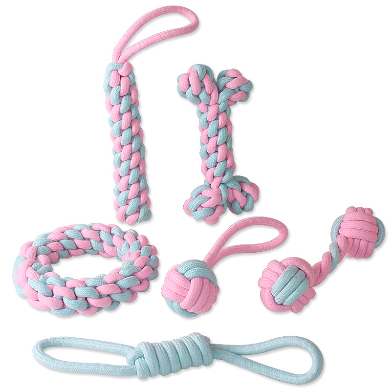 Animal de compagnie chien chiot coton mâcher noeud jouet Durable tressé os corde créative chien jouets chat jouets multiples formes dents nettoyage en gros