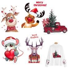 Рождественские Пластыри для одежды, наклейки с теплопередачей, моющиеся, железные пластыри, наклейки на футболку и джинсы, рождественские олени, машины