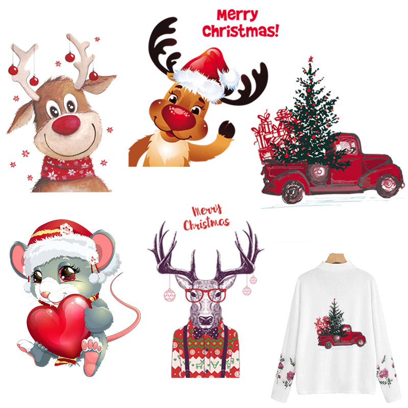 Christmas <font><b>Patches</b></font> For Clothing DIY Heat Transfer Stickers Washable Iron-on <font><b>Patches</b></font> T-shirt Jeans Stickers Christmas <font><b>Deer</b></font> Cars image