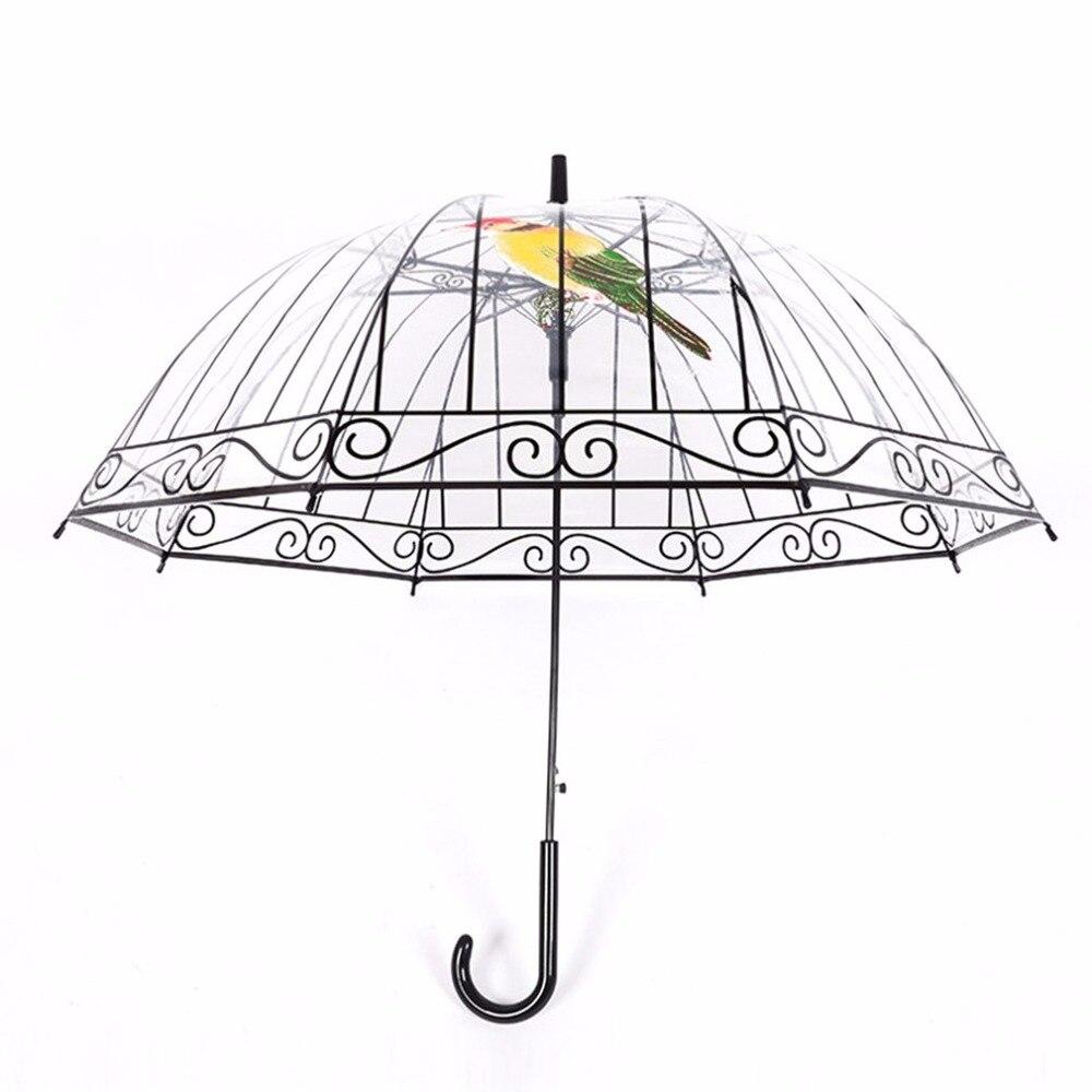 Прозрачный пластиковый зонт для солнечных и дождливых дней креативный Зонт с длинной ручкой Apollo Bird в клетку 50RR067