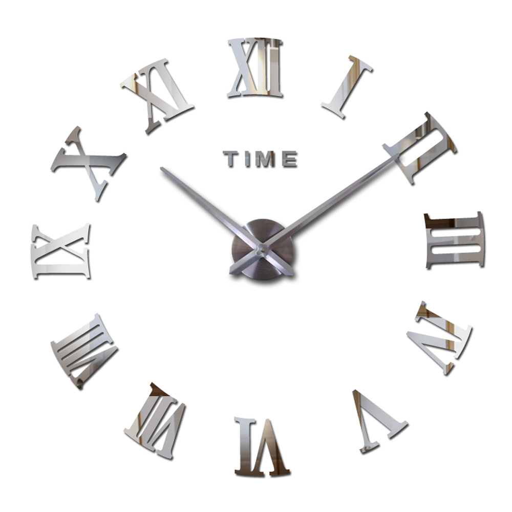 Large Wall Clock 3D DIY Big Kitchen Clocks Roman Numeral Acrylic Mirror Stickers Oversize Wall Clock For Living Room Home Letter