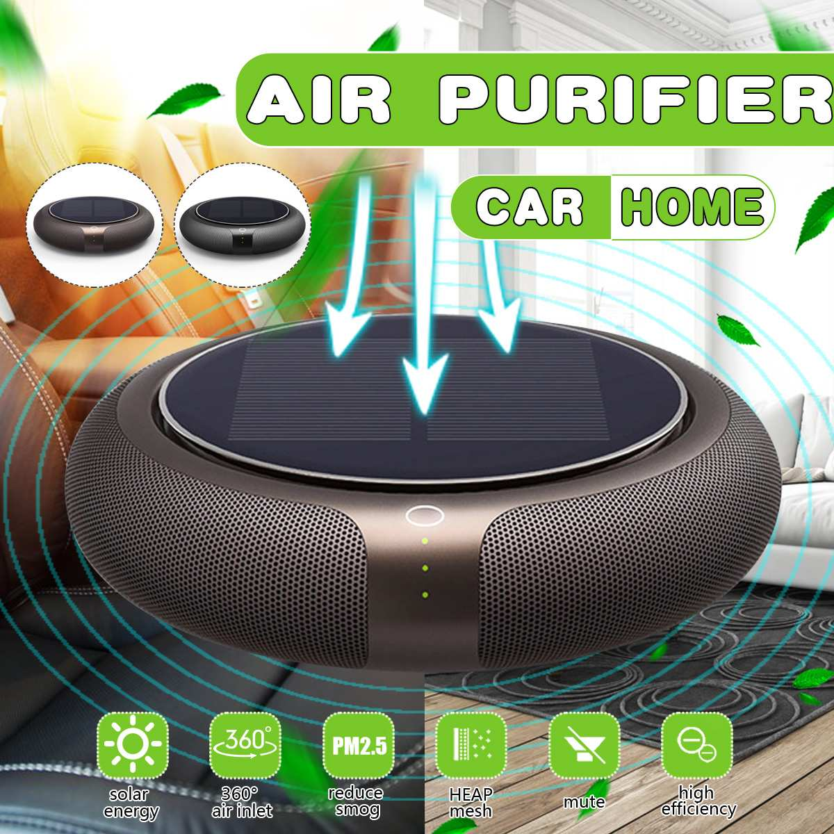 4W Solar Vehicle Odor Eliminator ABS Small Multiple Filtration Portable Round Car Air Purifier Car Accessories Quiet Design- low