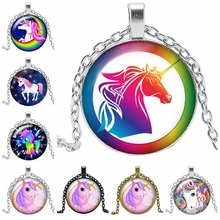 2019 New Unicorn Anime Cartoon Horse Necklace Jewelry Pendant Crystal Convex Round Glass Necklace Children's Gift 2019 new creative necklace cartoon unicorn gift glass convex anime horse pendant necklace fashion jewelry
