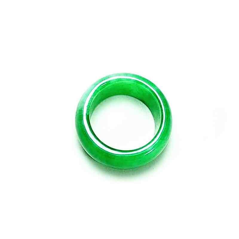 1 Pcss ธรรมชาติหินอาเกตสีเขียวมรกตอัญมณีแหวนคู่ Mmodels กว้าง Emerald แหวนแฟชั่น Man Lu หยกสีเขียวแห้งแหวน