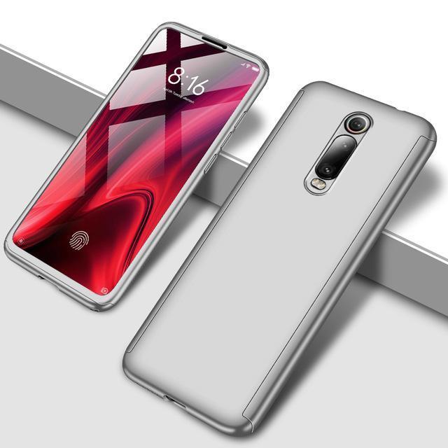 Противоударный 360 градусов чехол для телефона для Xiaomi Redmi Note 5 5A 6 7 8 Pro Полный Чехол для Redmi 7 7A K20 Pro Fundas Capa Coque - Цвет: Серебристый
