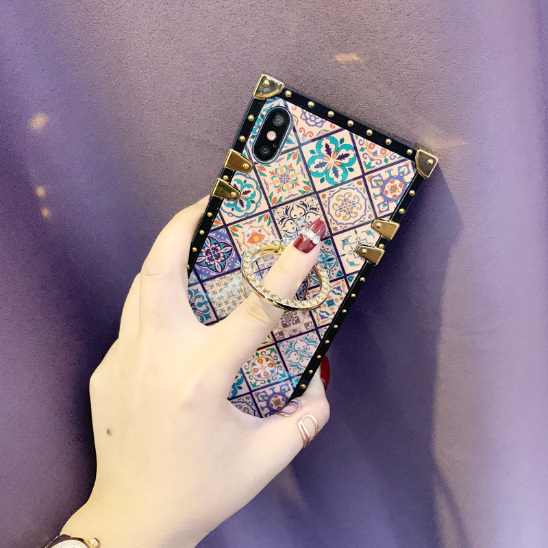 Case For iPhone Xr Xs Max Cover Blue Ray Square Rivet Chinese Style Girly Shiny Ring Stand Case For iPhone X Xs 7 8 Plus 6S Case (5)