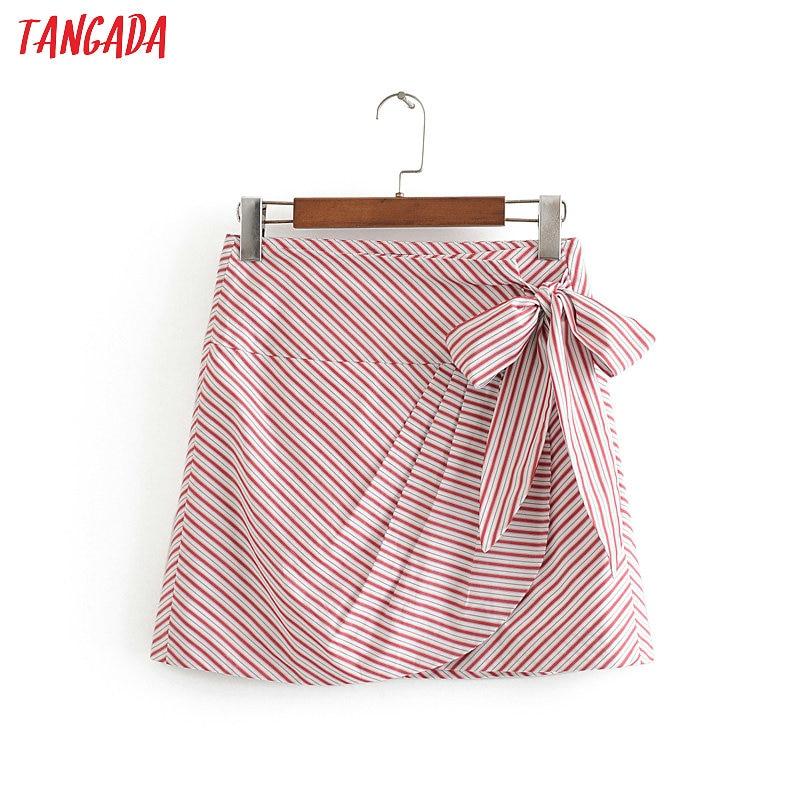 Tangada Women Striped Print Bow Skirts Faldas Mujer Summer School Style Female Elgant Mini Skirt 3H577