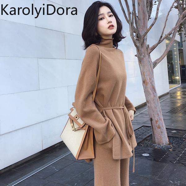 Women's Suit 2019 Winter Knitted Women Suit 2 Piece Set Solid Color Turtleneck Sweater Knitted Pants Suit Pullover Sets