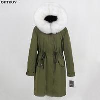 OFTBUY 2019 Winter Jacket Women Real Fur Coat X long Waterproof Fabric Natural Fox Fur Collar Outwear Thick Warm Streetwear New