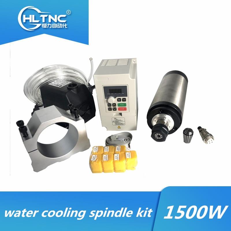 Водяное охлаждение с ЧПУ набор шпинделя 1,5 кВт 110 В/220 В шпиндель с водяным охлаждением + VFD + водяной насос + 80 мм кронштейн + ER11 цанги для ЧПУ