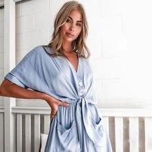 Новый брендовый женский однотонный комбинезон с v образным вырезом