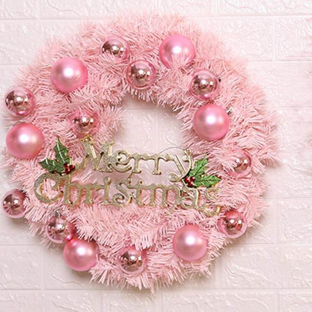 30/40cm Christmas Decoration Pink Christmas Wreath Rattan Ring Shopping Mall Window Scene Ornaments Artificial Christmas Wreath 23