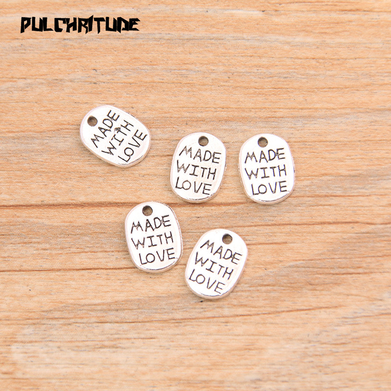 """PULCHRITUDE 60pcs 8*11mm Two Color Letter Charms """"MADE WITH LOVE """"Pendants Handmade  Vintage For DIY Jewelry Making Findings 5"""