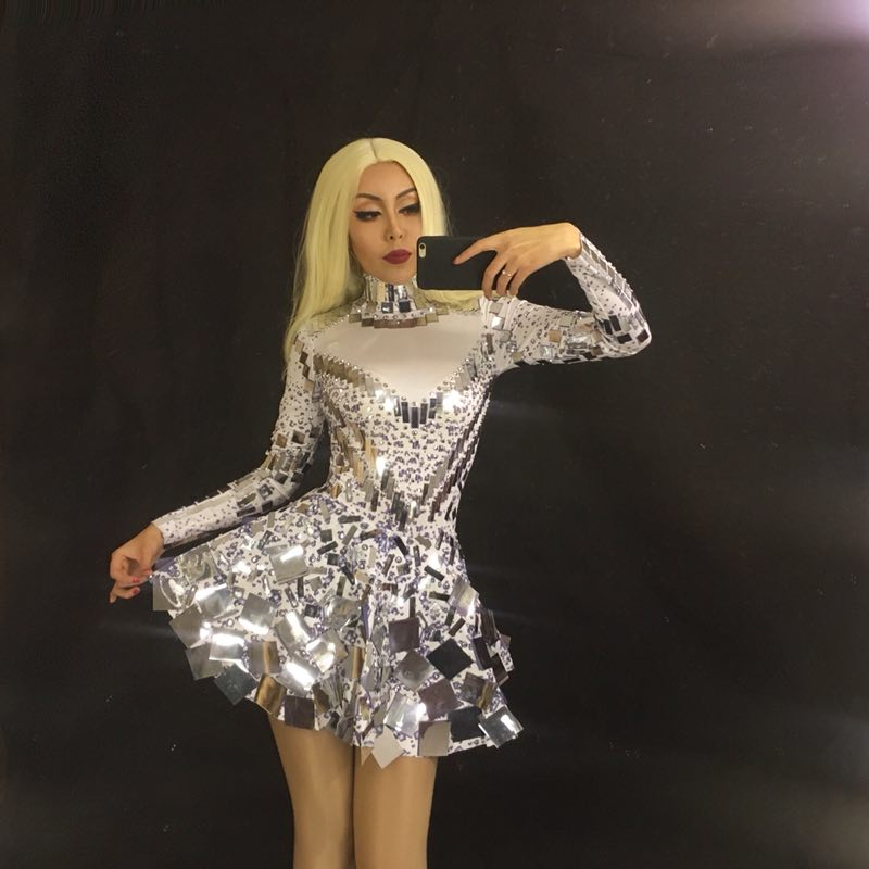 Sell Well Singer Mirror Dress Stage Dance Wears Sparkly Silver Sequins Bodysuit Dress Rhinestone Costume