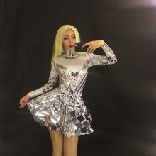 Rhinestone Costume Bodysuit-Dress Dance-Wears Sequins Singer Silver Sell Sparkly Stage