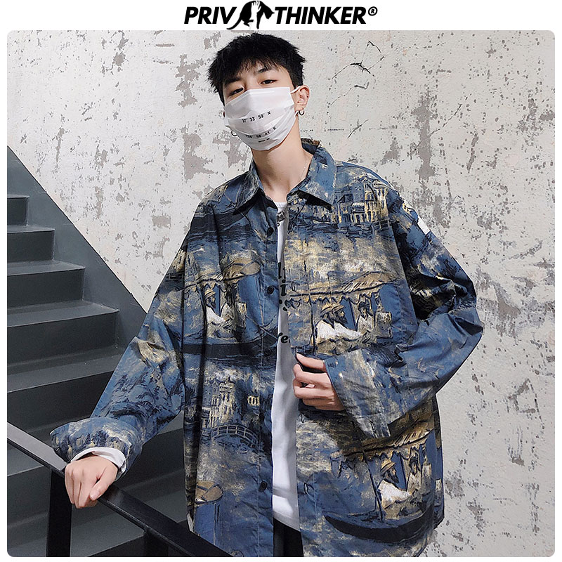 Privathinker Men Printed Casual Shirt Long Sleeve Cotton Autumn Men's Shirt Streetwear Casual Hip Hop Male High Quality Clothes