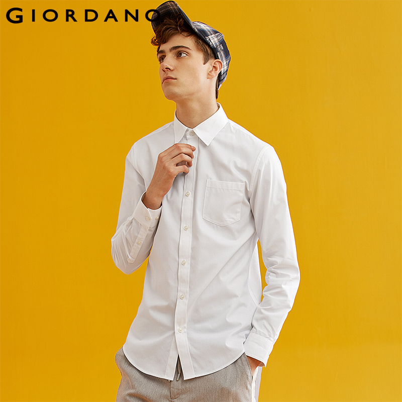 Giordano Men Shirt Men Single Pocket Long-sleeve Durable Fabric Slim Fitting Men Shirt Round Hem Casual Camisa Hombre