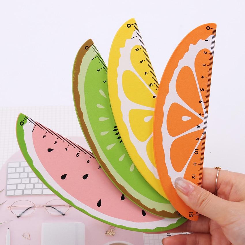 15cm Creative Cartoon Cute Fruit Straight Ruler Office Measuring Ruler School Supplies Stationery Wooden Ruler
