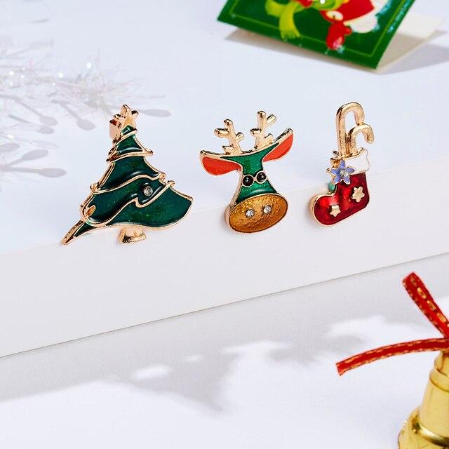 3 pièces/ensemble cadeau de noël pour femmes hommes broches émail broches père noël cloche Elk flocon de neige arbre de noël broche enfants nouvel an broche