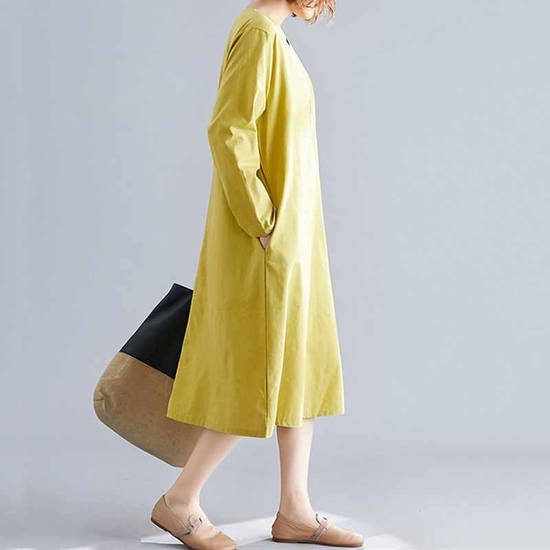 Manga comprida algodão linho plus size vintage floral bordado feminino casual solto outono elegante vestido roupas 2019 senhoras vestidos