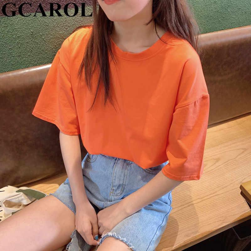 GCAROL 2020 봄 여름 여성 캔디 티셔츠 특대 남자 친구 스타일 탑스 완벽한 기본 티셔츠 Unlined Upper Garment