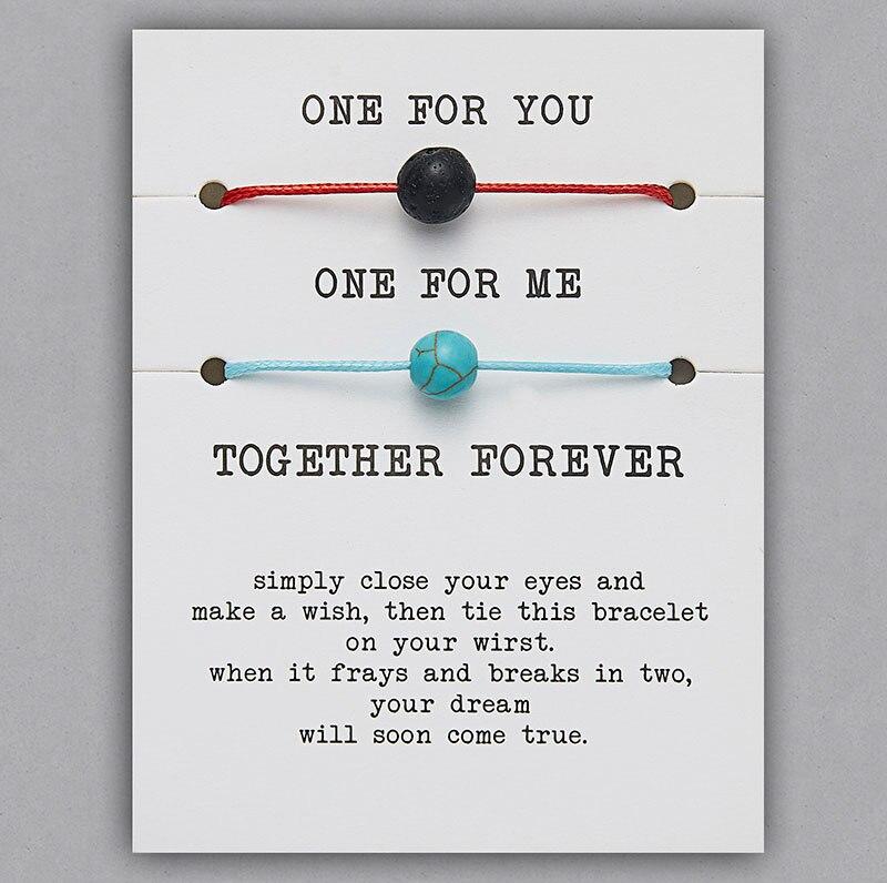 2 шт./компл. Сердце Звезда браслеты с крестообразной подвеской один для вас один для меня красная веревка плетение пара браслет для мужчин женщин карточка пожеланий - Окраска металла: BR18Y0709-2