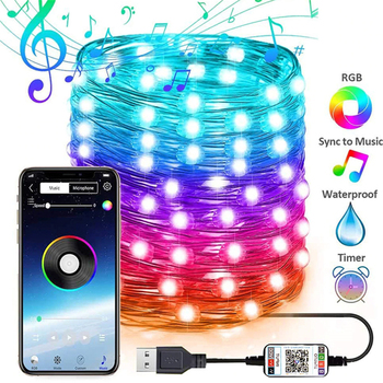 USB LED String Light Bluetooth App Control String Lights Lamp Waterproof Outdoor Fairy Lights for Christmas Tree Decoration Neon image