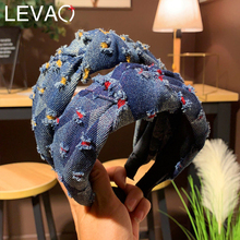 Levao Blue Denim Headband Head Hoop for Women Hair