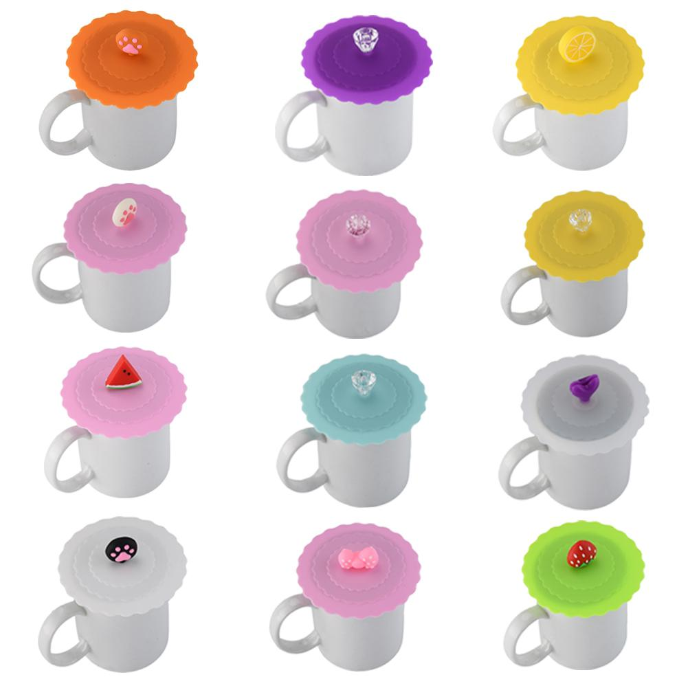 Cute Fruits Adorn Water Drinking Cup Lid FDA Silicone Anti-dust Bowl Cover Cup Seals Glass Mugs Cap Diameter 10cm
