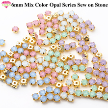 RESEN 6mm Mix Fancy Opal Colors Resin Sew On Rhinestones With Gold Claw Pink/Blue/Green/White Opal Sewing Rhinestones DIY Dress resen 6mm mix fancy opal colors resin sew on rhinestones with gold claw pink blue green white opal sewing rhinestones diy dress