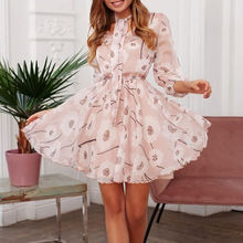 2020 пляжные платья с розовым принтом весна лето новинка шифоновый