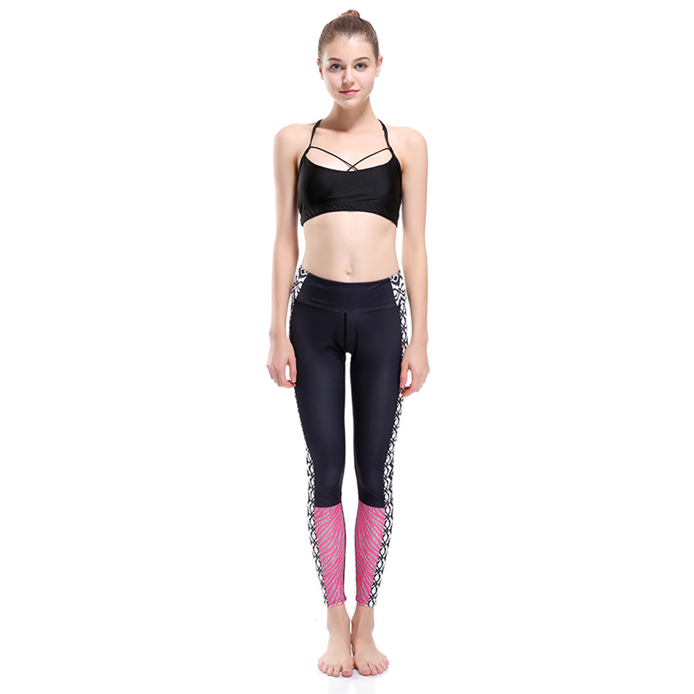 2019 Sexy Lace Splicing Waist Hips Leggings Women Print Pocket Workout Clothes Push Up Fitness Female Elastic Slim Pants Leggins