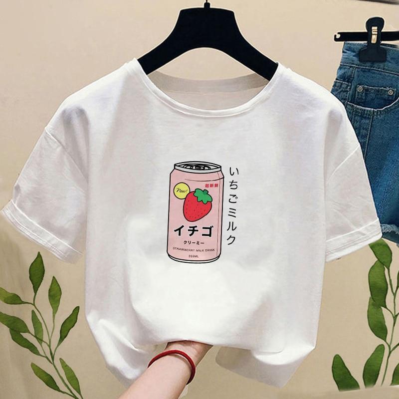 Летняя женская футболка с изображением японской клубники, молока, напитков, с коротким рукавом, в стиле Харадзюку, Kawaii, футболки, Женский Топ