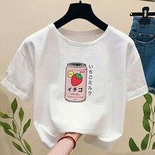 Camiseta feminina de verão japonês morango leite bebida de manga curta harajuku kawaii gráfico camiseta feminina