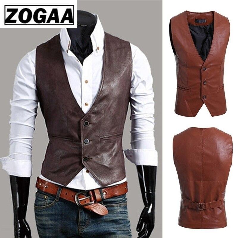 ZOGAA Men's Slim Vest Sleeveless Jacket Casual PU Leather Vests Button Open V-neck Geek Simple Joker Slim Fit Vest Men