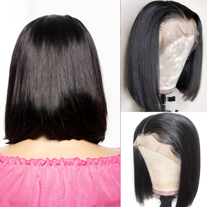 Image 2 - Short Bob Lace Frontal Wigs With Baby Hair Remy 13x4 Lace Front Human Hair Wigs Pre Plucked Straight For Black Women 150%