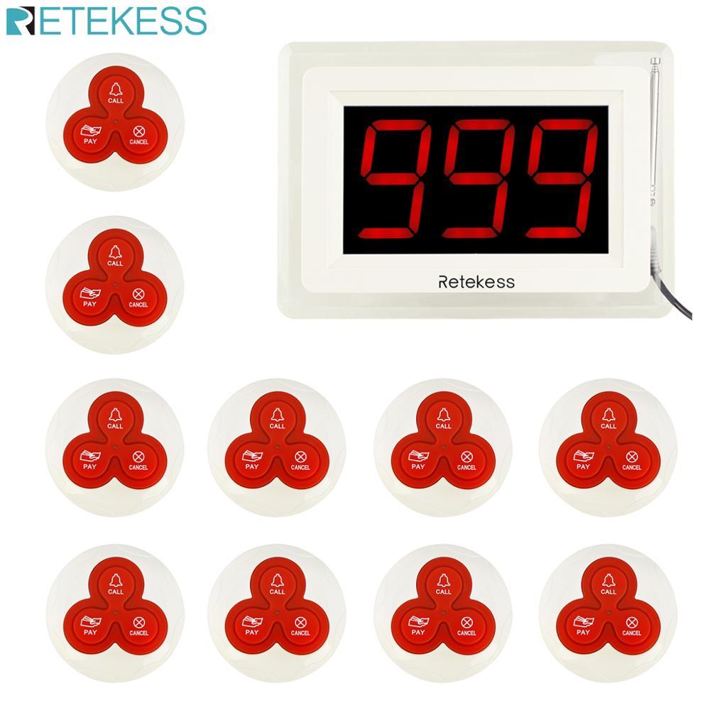 Retekess-localizador T114 para restaurante, sistema de llamadas inalámbrico con pantalla + 10 timbres de mesa, botón de llamada, servicio al cliente F9405B