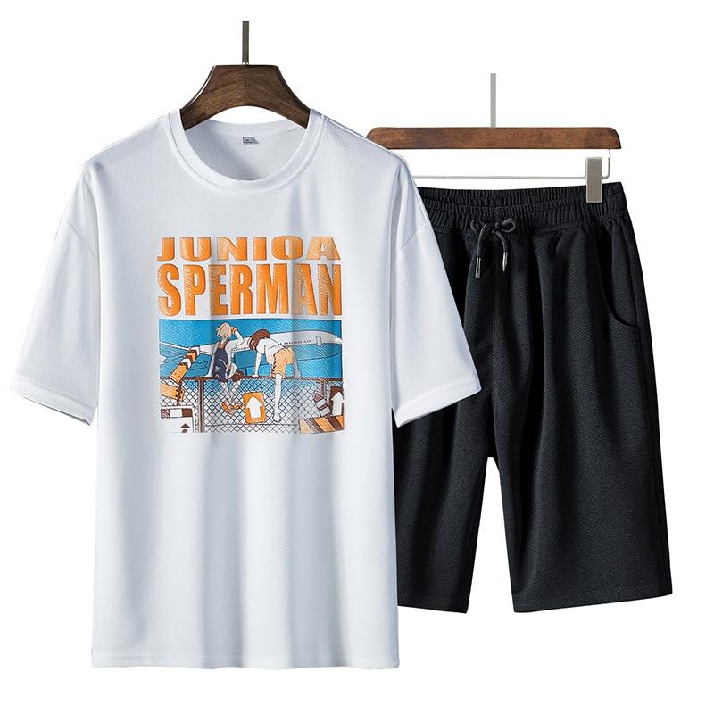 2019 Summer Trend MEN'S Short Sleeve Shirt Two-Piece Set Morning Jog Suits Men's Leisure Sports Suit Trend T-shirt Men'S Wear