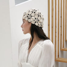 Hats Women Crochet Lace Knitting Hollow-Out Thin-Cap Spring Summer Turban Flowers Hand-Woven