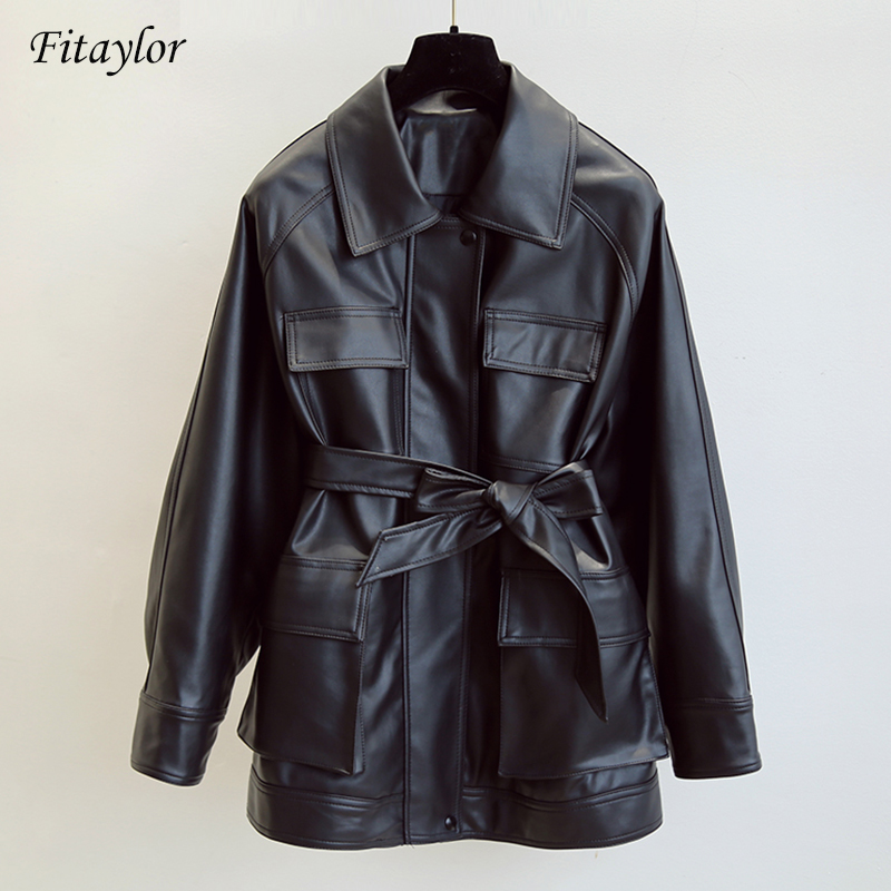 Fitaylor New Women Leather Jacket Medium Long Vintage Faux Leather Coat Loose Black Motorcycle Jackets Tie Belt Waist Outfits