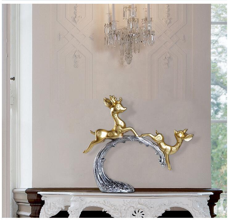 Europa criativo resina veados escultura ornamentos casa
