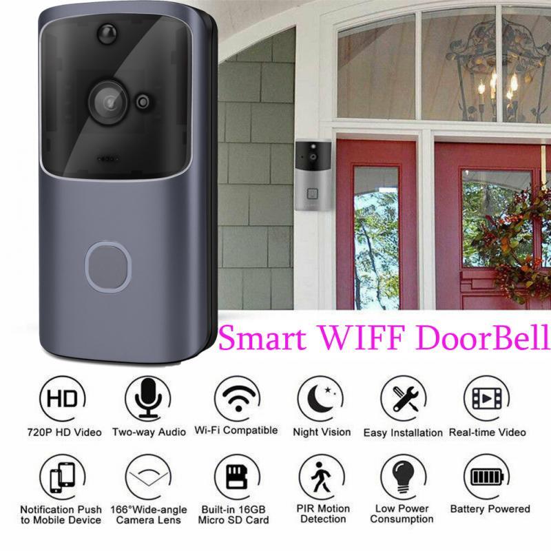 Smart Vidie Audio Doorbell Peephole WiFi Wireless Camera Night Vision With 6 IR LED Video Recording Rainproof Home Security