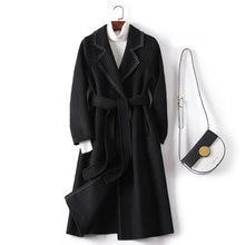 Осенне зимнее женское модное шерстяное пальто двухстороннее